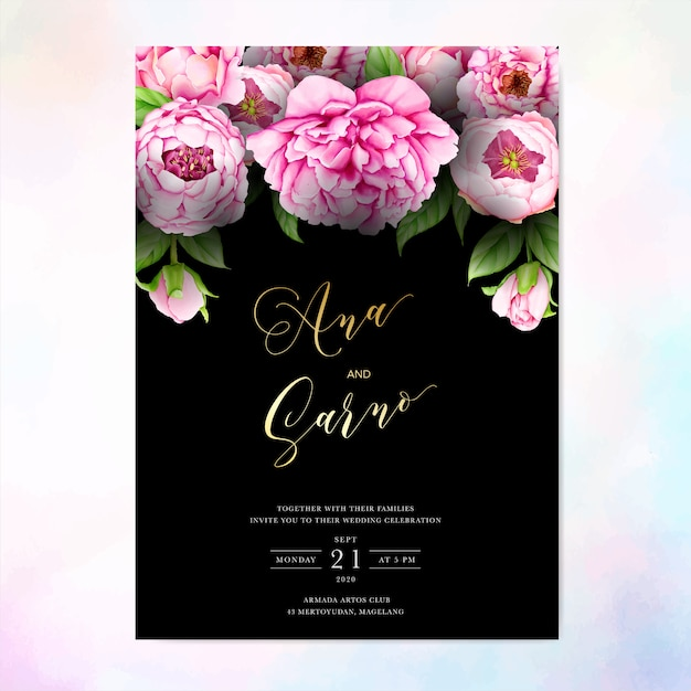 Quadro floral aquarela fundo multiusos Vetor Premium