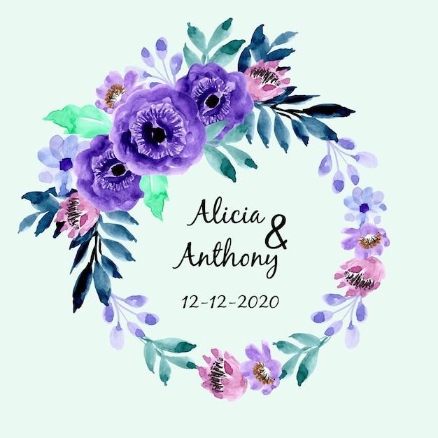 Quadro floral aquarela roxo azul Vetor Premium
