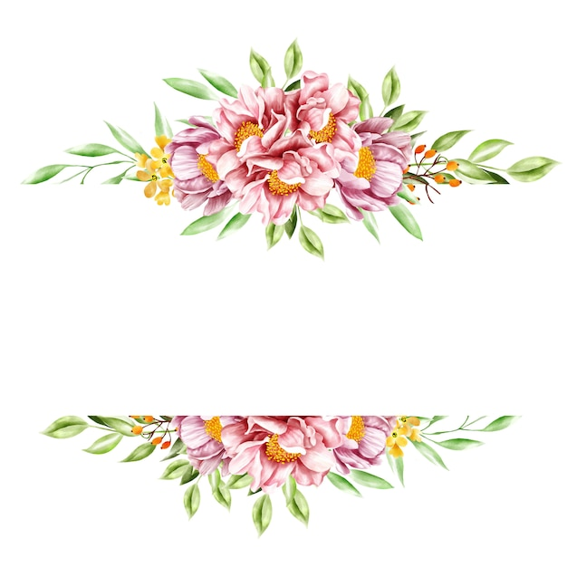 Quadro floral aquarela Vetor Premium