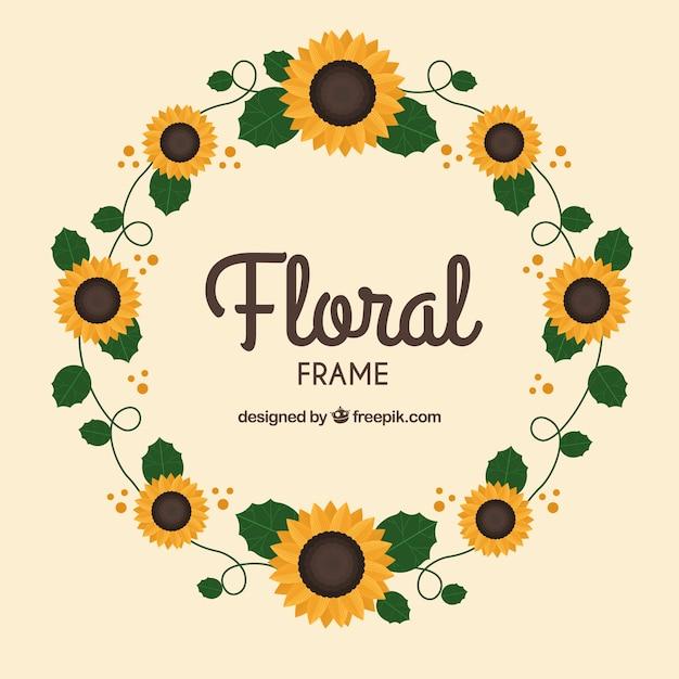 Quadro floral circular com design plano Vetor grátis