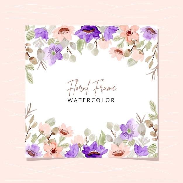 Quadro floral com aquarela floral roxo blush Vetor Premium