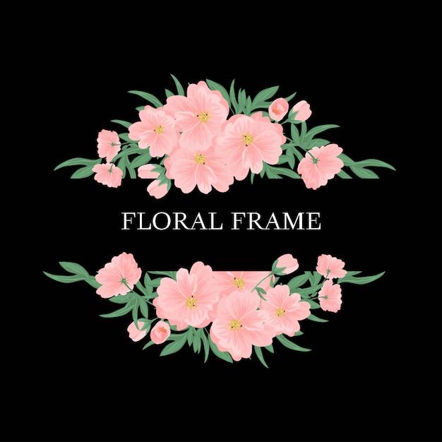 Quadro floral com buquê de flores cor de rosa e vegetação Vetor Premium
