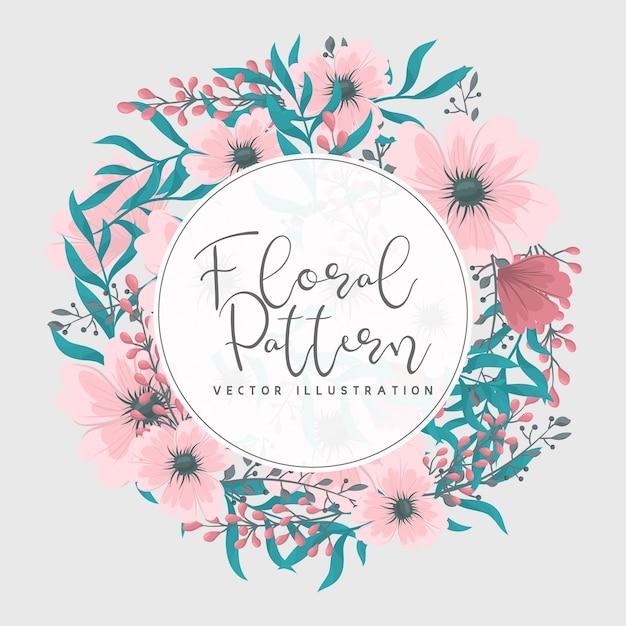 Quadro floral com flor colorida. Vetor Premium
