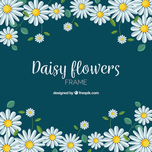 Quadro floral com margaridas planas Vetor grátis