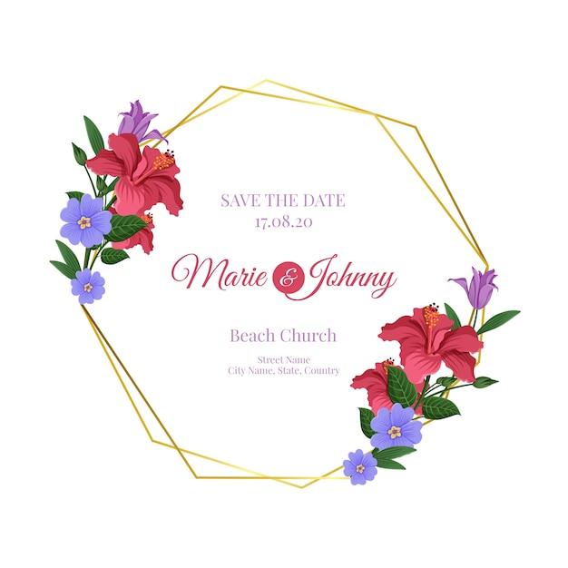 Quadro floral de casamento dourado com data e nomes Vetor grátis