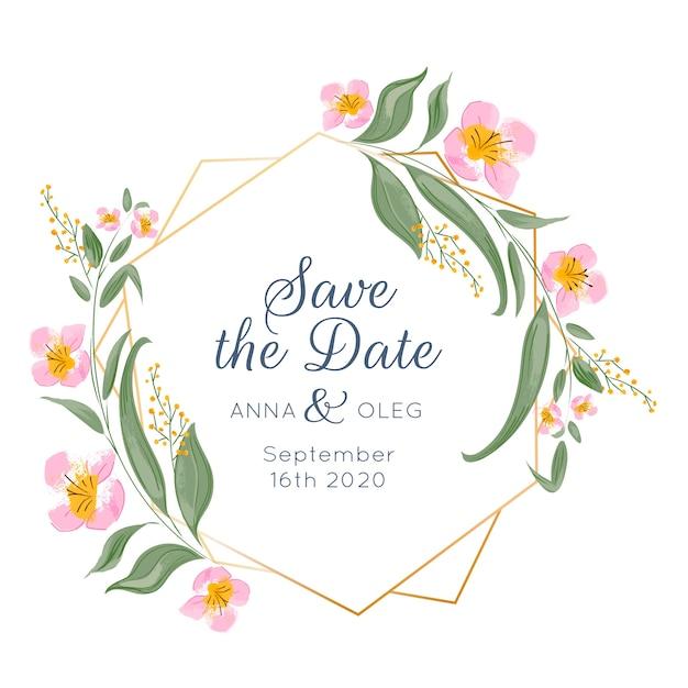 Quadro floral de casamento Vetor Premium