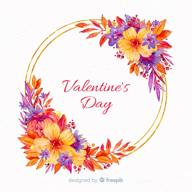Quadro floral de dia dos namorados Vetor grátis