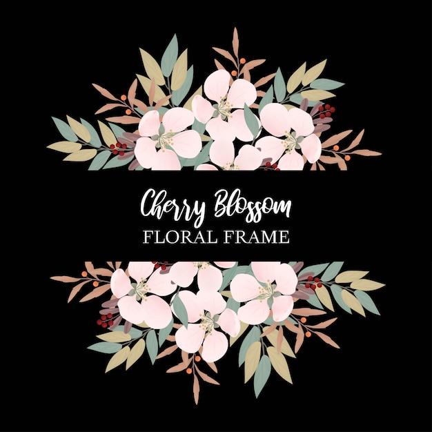 Quadro floral de flor de cerejeira Vetor Premium