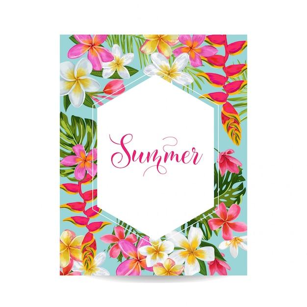 Quadro floral de florescência do verão. flores tropicais Vetor Premium