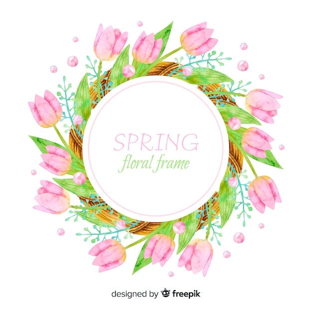 Quadro floral de primavera aquarela Vetor grátis