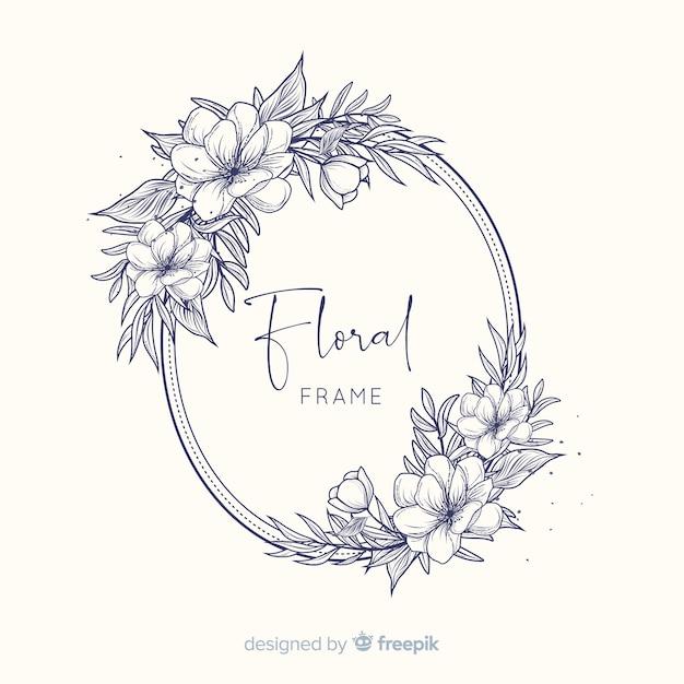 Quadro floral de primavera desenhada de mão Vetor grátis