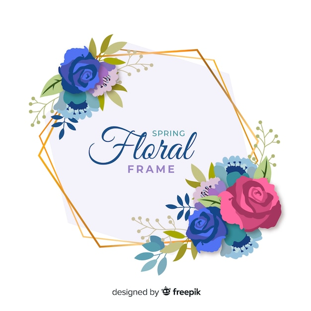 Quadro floral de primavera plana Vetor grátis