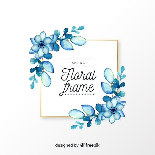 Quadro floral de primavera quadrado aquarela Vetor grátis