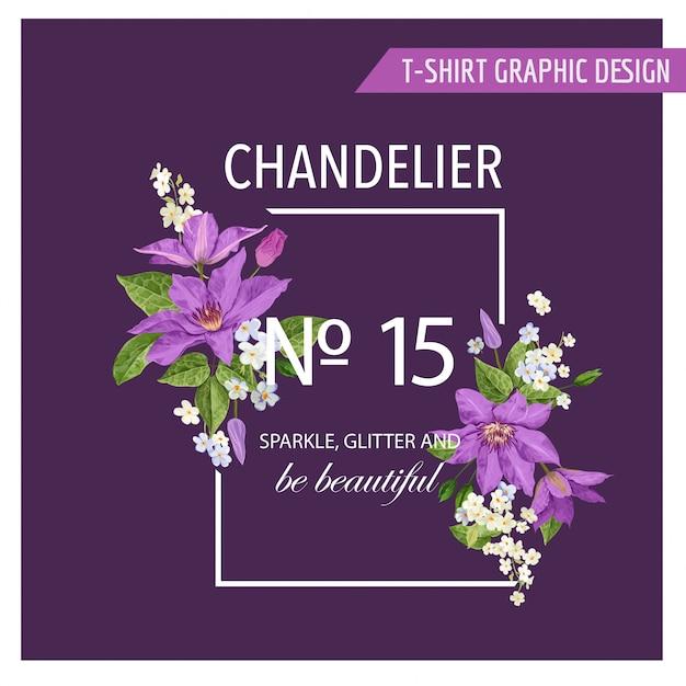 Quadro floral de verão com flores tropicais Vetor Premium