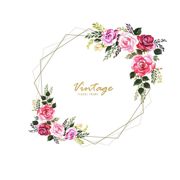 Quadro floral decorativo vintage com design de cartão de casamento Vetor grátis