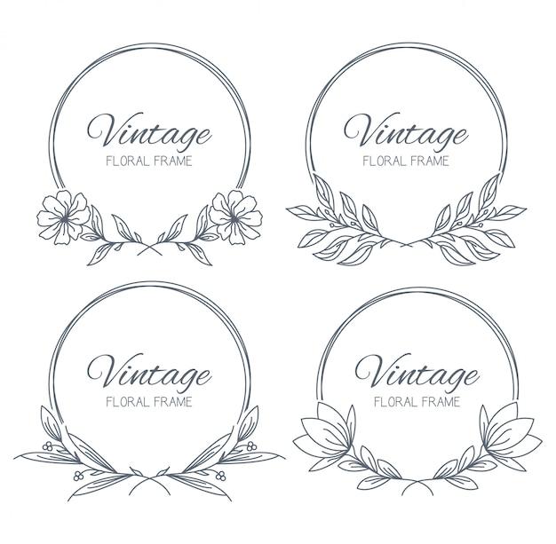 Quadro floral desenhado de mão de coleção Vetor Premium