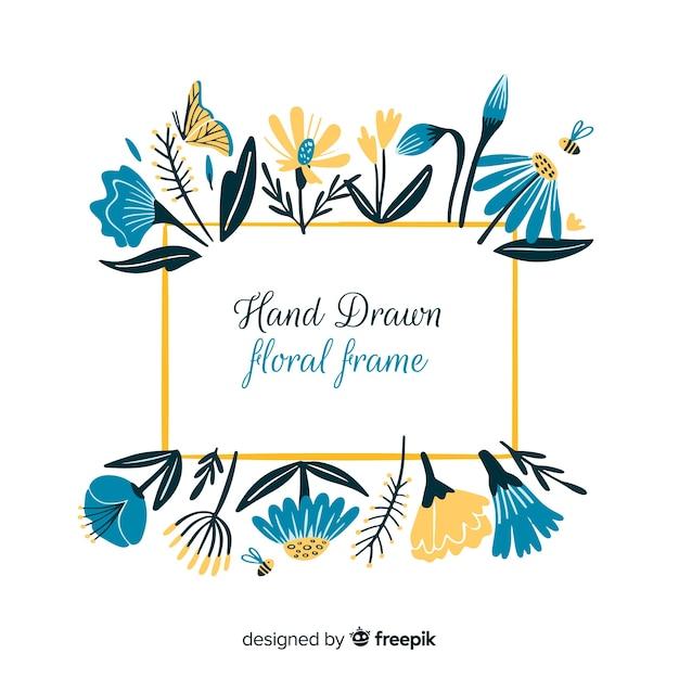 Quadro floral desenhado de mão Vetor grátis