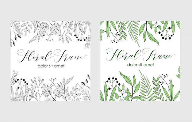 Quadro floral desenhado de mão Vetor Premium