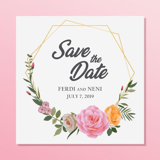 Quadro floral do casamento Vetor Premium