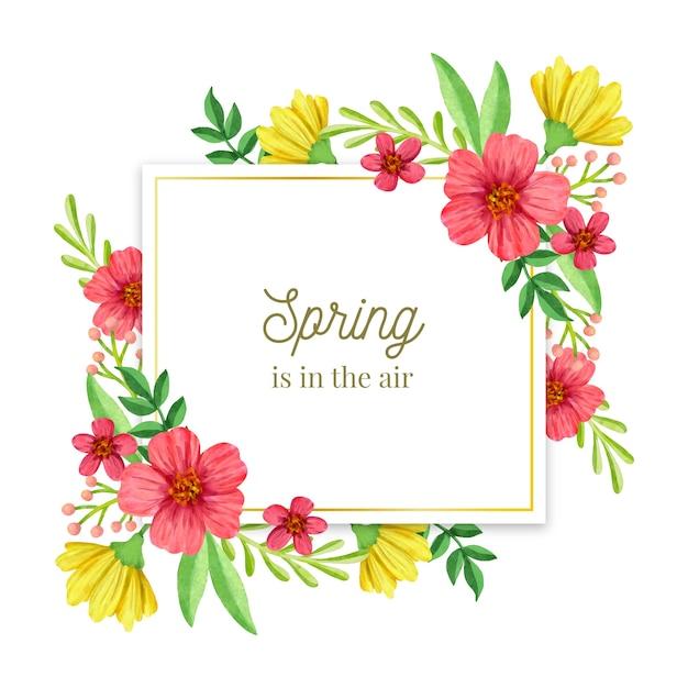 Quadro floral em aquarela primavera dourado Vetor grátis