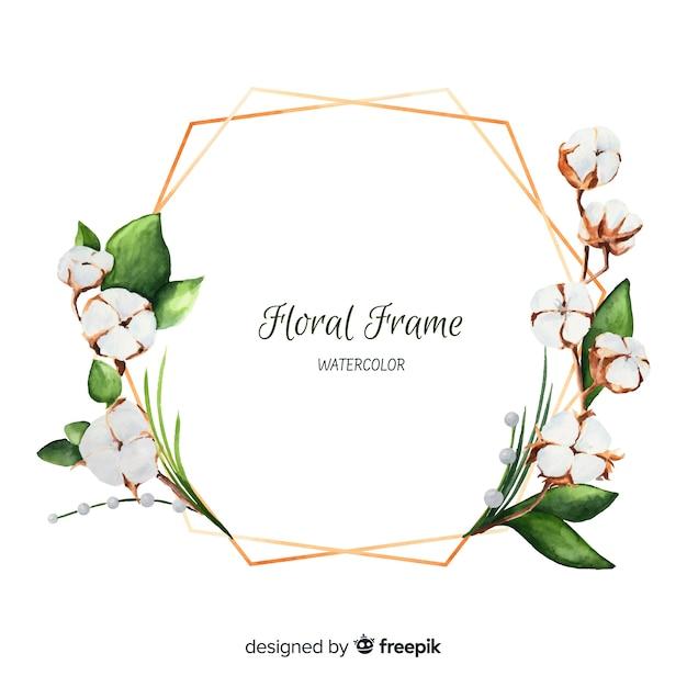 Quadro floral em aquarela Vetor Premium