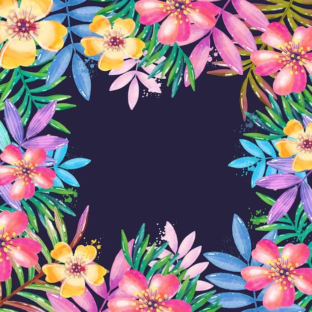 Quadro floral em aquarela Vetor grátis