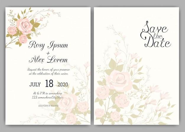 Quadro floral mão desenhada para um convite de casamento Vetor Premium