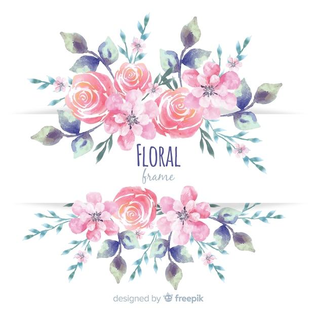 Quadro floral moderno com estilo aquarela Vetor grátis