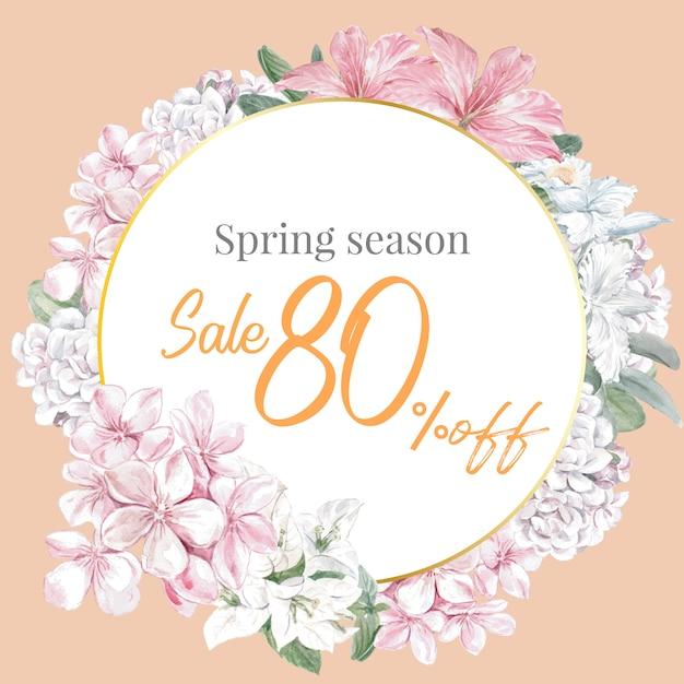 Quadro floral primavera de vendas Vetor grátis