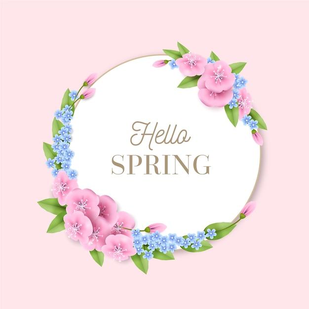 Quadro floral primavera realista Vetor grátis