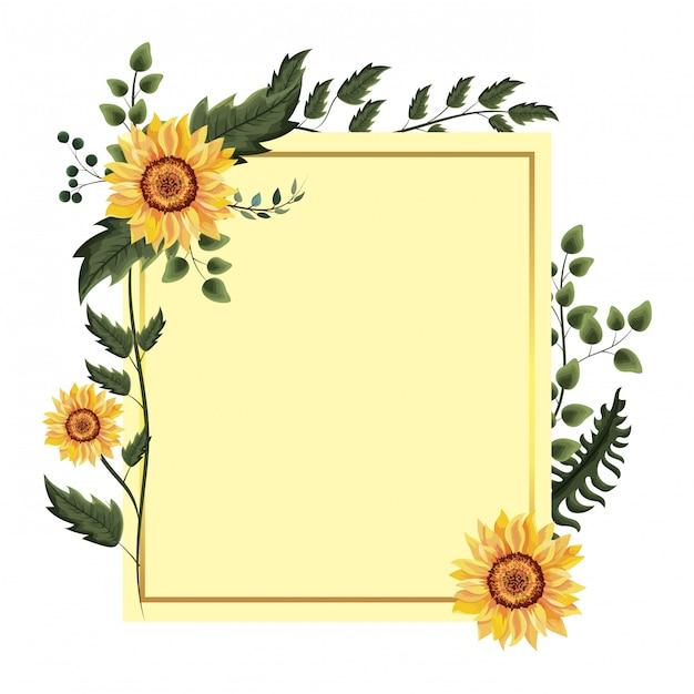 Quadro floral primavera Vetor Premium