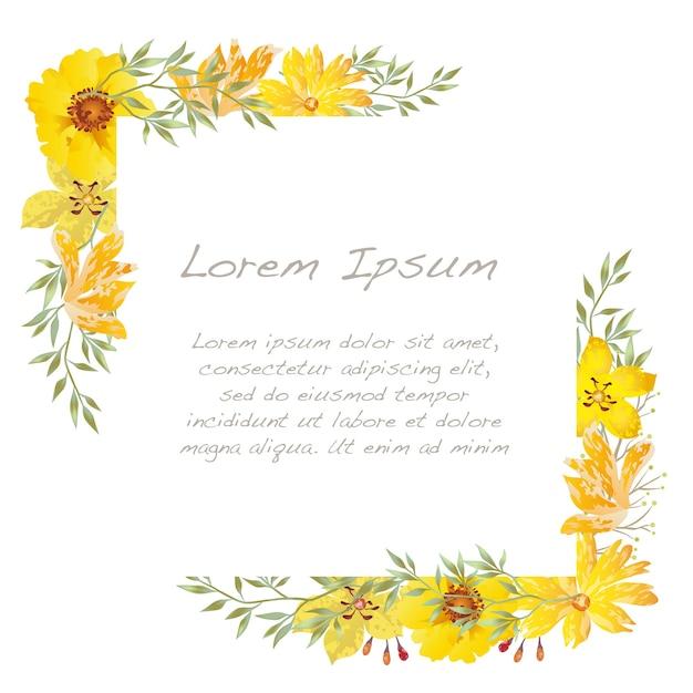 Quadro floral quadrado aquarela de vetor isolado em um branco. Vetor grátis