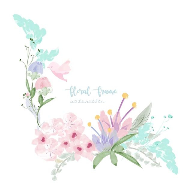 Quadro floral vintage em estilo aquarela. Vetor Premium