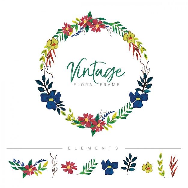 Quadro floral vintage Vetor Premium