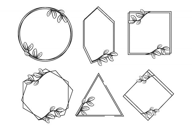 Quadro geométrico de monograma com floral melhor para convite de casamento Vetor Premium