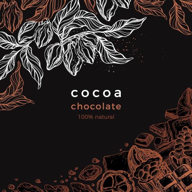 Quadro gráfico de chocolate. árvore de cacau, galho, feijão, fruta. ilustração desenhada à mão Vetor Premium