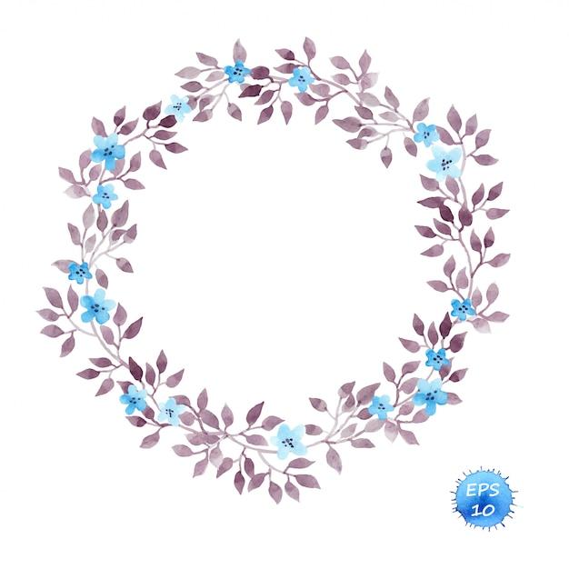 Quadro guirlanda floral com flores e folhas Vetor Premium