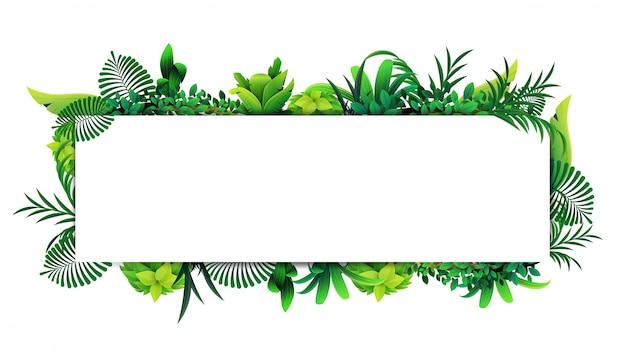 Quadro horizontal de folhas tropicais em torno de um retângulo vazio branco. layout de uma borda feita de elementos tropicais Vetor Premium