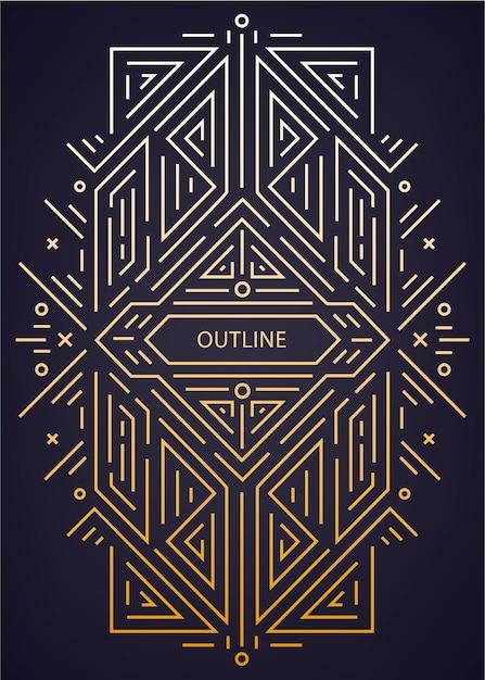 Quadro linear geométrico luxuoso antigo art deco, fronteira. Vetor Premium