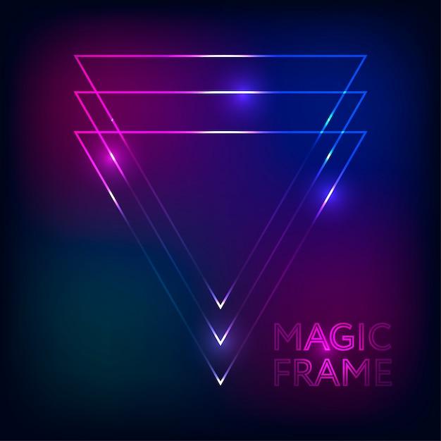 Quadro mágico gradiente vetor abstrato luzes linhas texto design moldura fundo escuro Vetor Premium