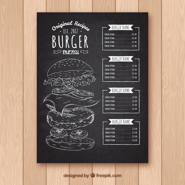 Quadro-negro com modelo de menu de hambúrguer Vetor grátis