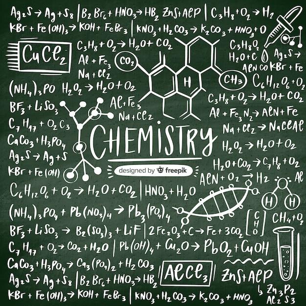 Quadro-negro de química desenhada de mão Vetor grátis