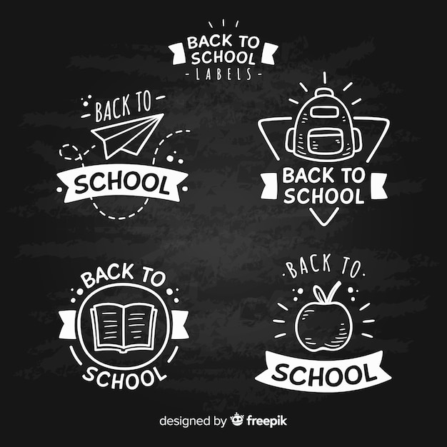 Quadro-negro de volta à coleção de crachá de escola Vetor grátis