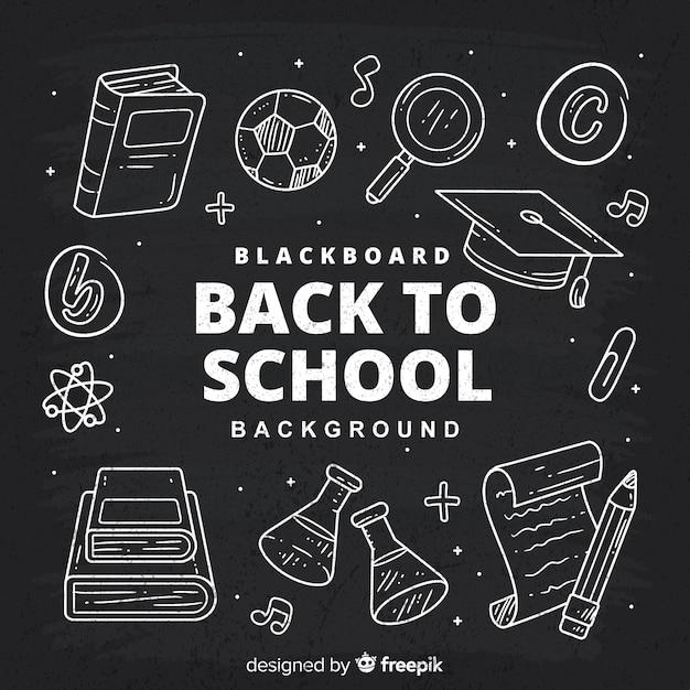 Quadro-negro de volta ao fundo da escola Vetor grátis