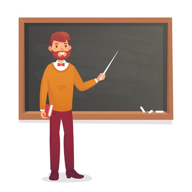 Quadro-negro e professor masculino Vetor Premium