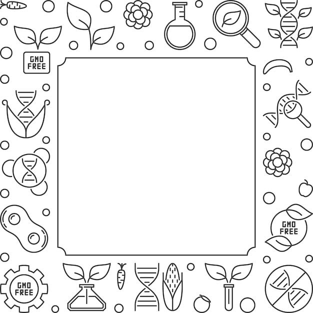 Quadro ou ilustração de contorno quadrado livre de ogm Vetor Premium