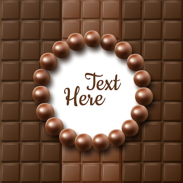 Quadro plano de barras de chocolate de vetor com balas e lugar para texto ou copyspace close-up vista superior Vetor grátis