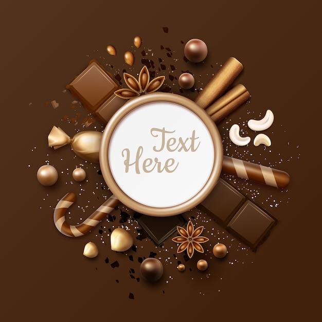 Quadro plano de chocolate de vetor com balas, paus de canela, anis estrelado, nozes, doces em embalagem brilhante, pirulitos listrados e lugar para texto ou copyspace close-up vista superior Vetor Premium
