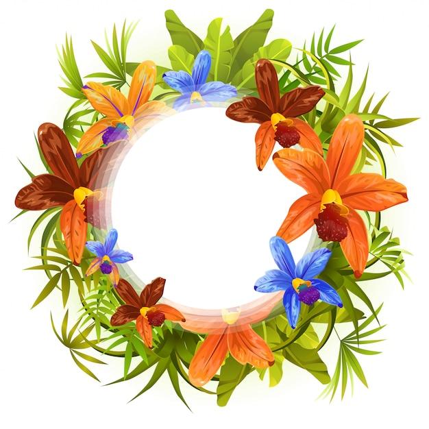 Quadro plantas estilizadas, folhas e flores orquídeas. Vetor Premium