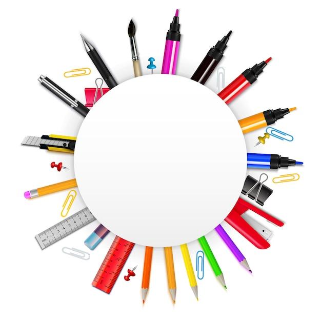 Quadro realista colorido em forma de círculo com vários artigos de papelaria na ilustração vetorial de fundo branco Vetor grátis